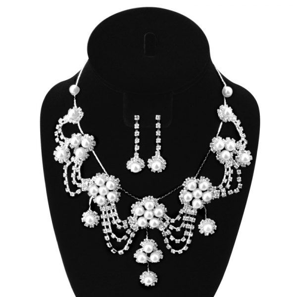 A suit of Elegant Faux Pearl Zircon Flower Tassel Necklace and Earrings For Women (SILVER) in Necklaces | DressLily.com