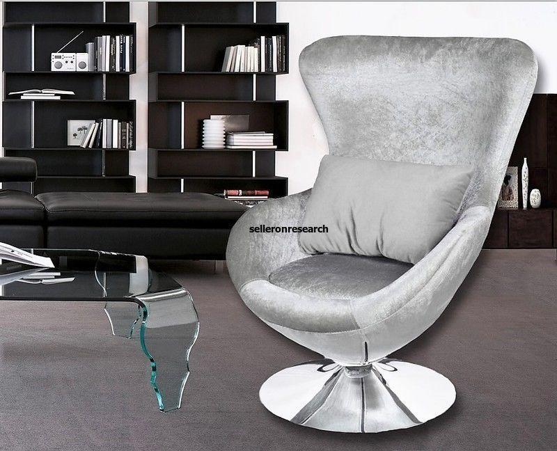 Silber Modern Eiersessel Stoffsessel Wohnzimmer Drehsessel