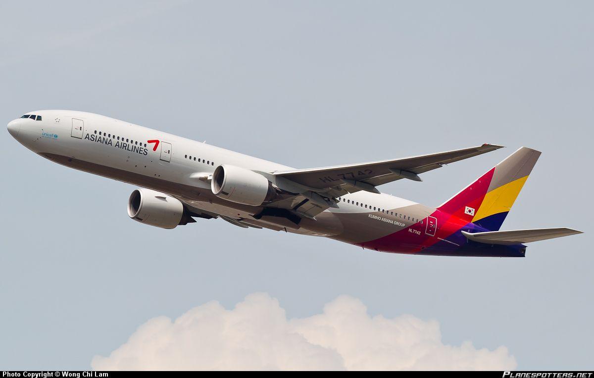 HL7742 Asiana Airlines Boeing 777-28E(ER) taken 22-09-2012 at Hong Kong - Chek Lap Kok International. This plane crash landed at San Francisco today 6th July 2013