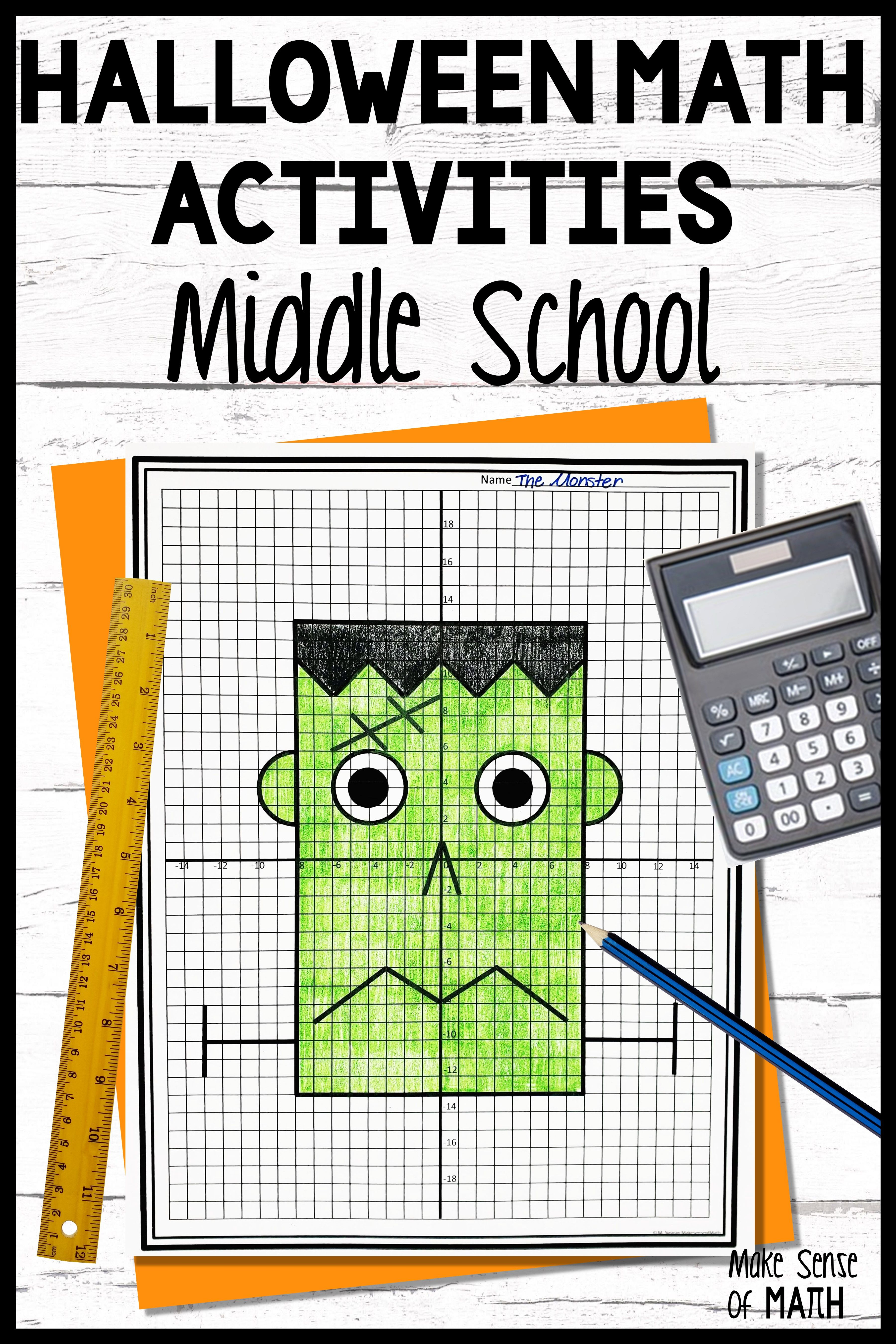 Halloween Math Activities and Worksheets for Middle School Math   Halloween  math activities [ 5400 x 3600 Pixel ]