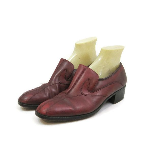 16a1a6d3a0aca Vintage 70s Shoes Mens Loafer Slip On Oxblood Leather Disco Dress ...