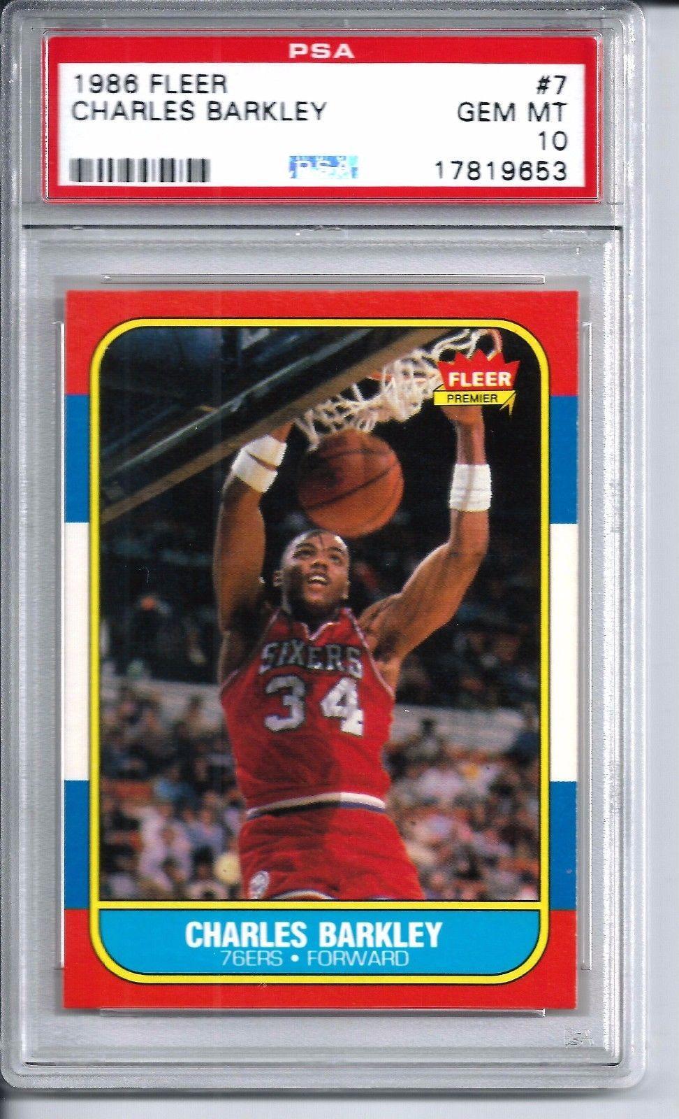1986 fleer basketball 7 charles barkley rookie card psa