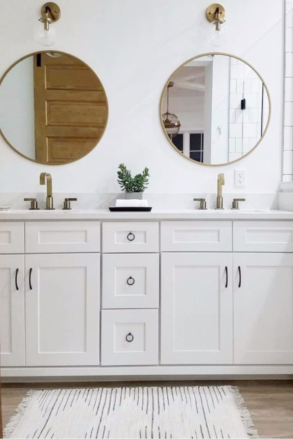 Gold Accents Subway Tile In A His And Hers Round Mirror Bathroom Bathroom Mirror Bathroom Decor