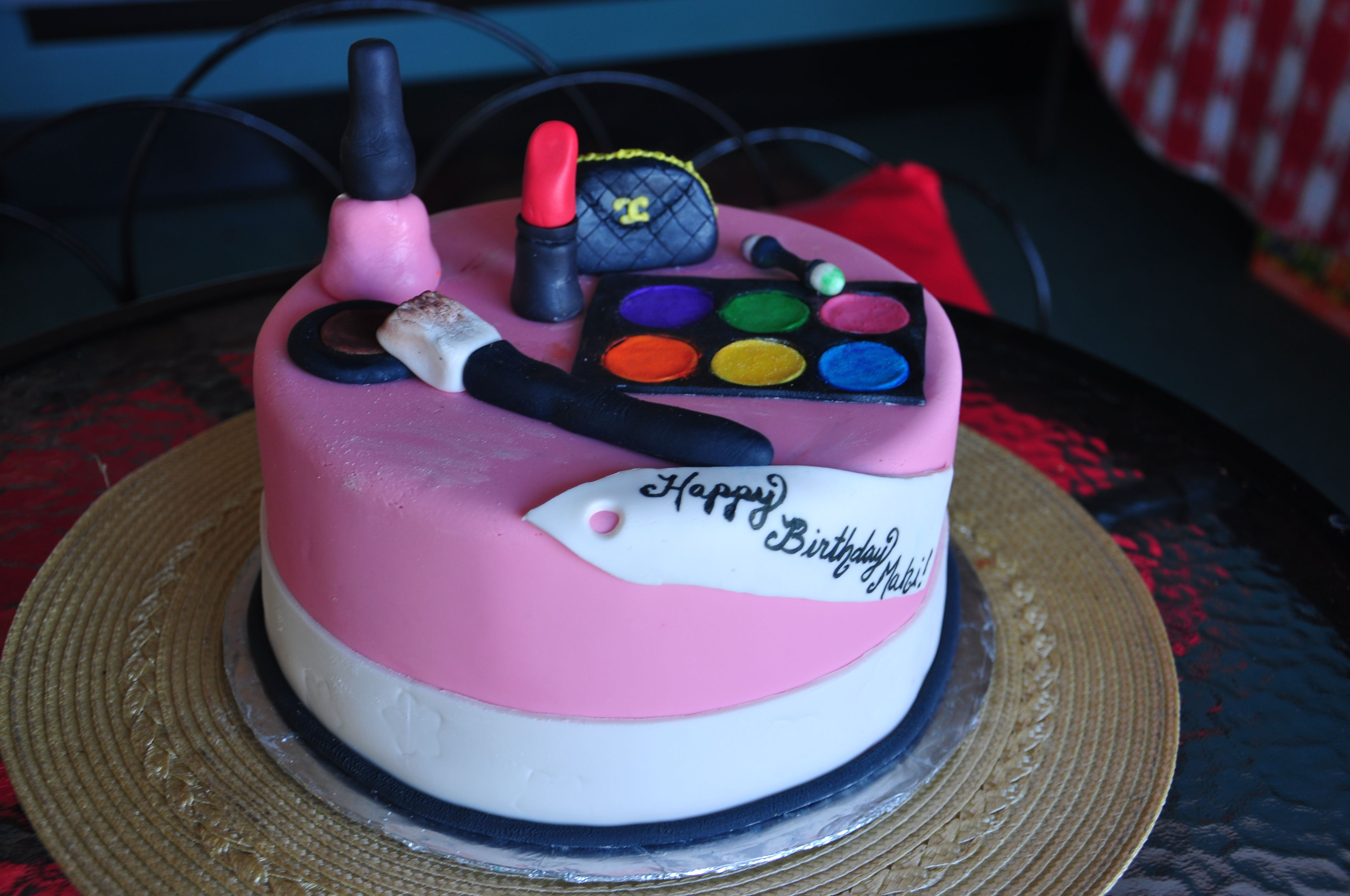 Enjoyable Fondant Makeup Birthday Cake From Marcos Bakery And Chris Birthday Cards Printable Trancafe Filternl