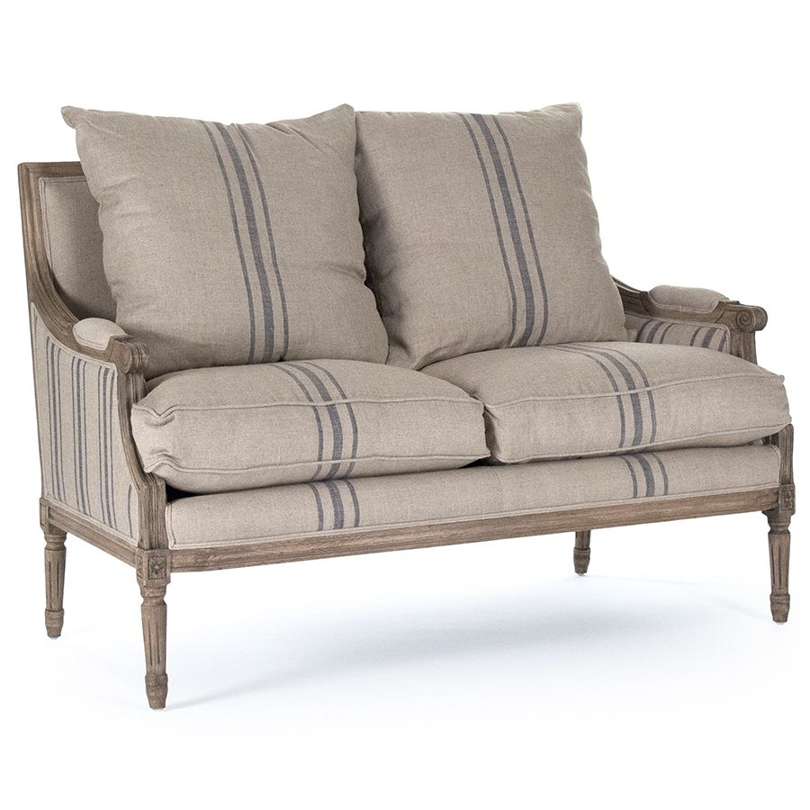 A traditional french settee created with a stylish striped natural linen fabric that gives is a fresh modern look blue striped french louis settee