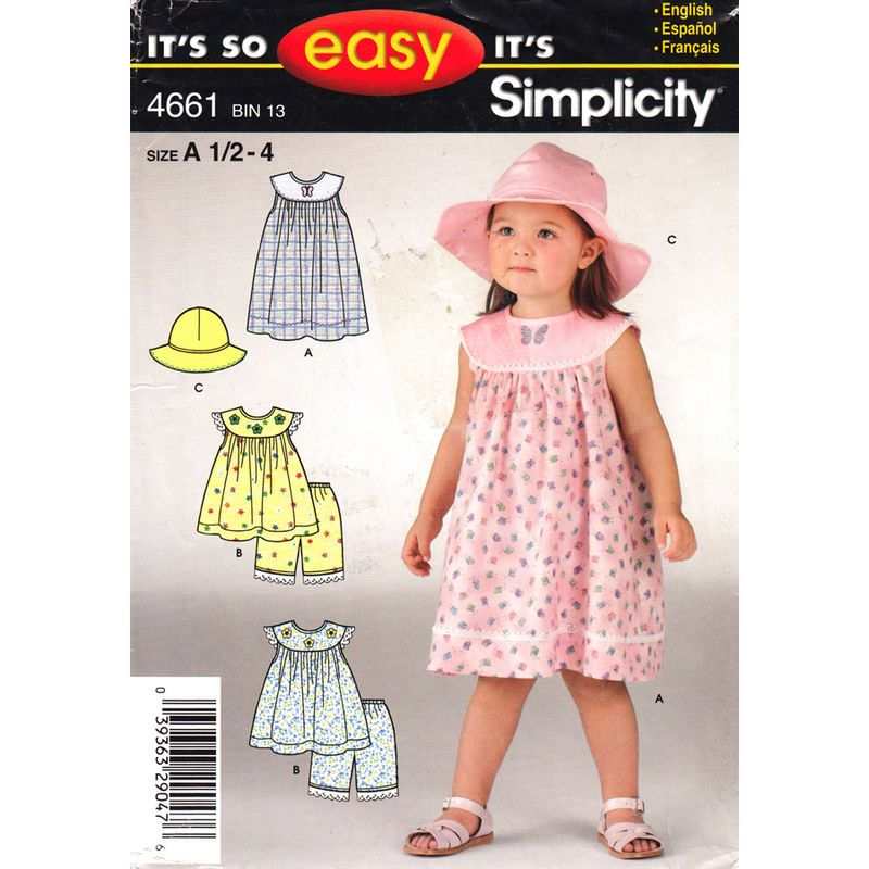 Girls Round Yoke Dress Top Panties Hat Pattern Simplicity 4661 ...