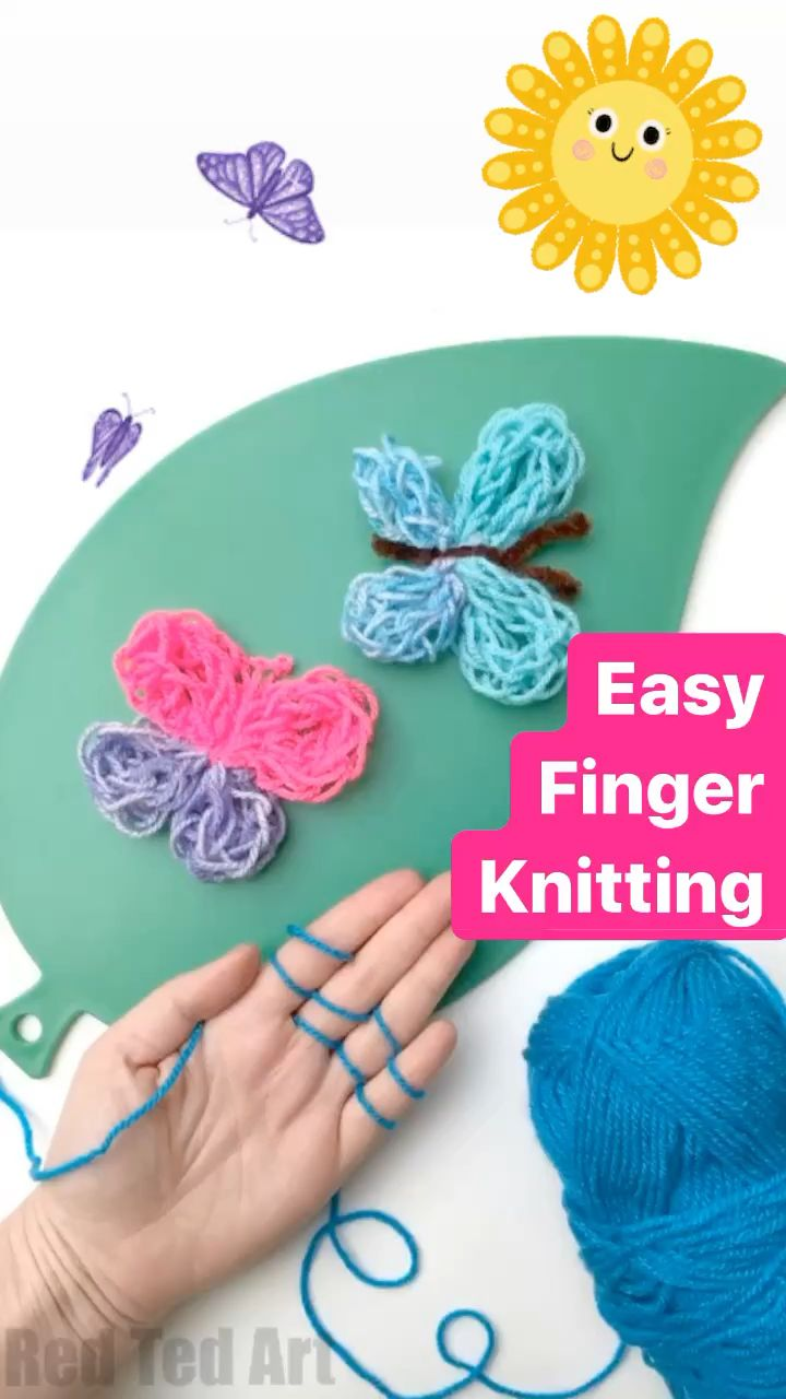 Photo of Butterfly Finger Knitting- Red Ted Art