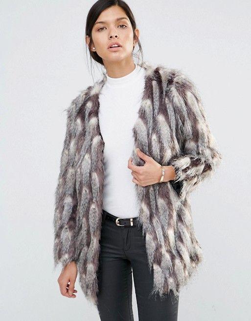 Little Mistress Grey and White Pattern Faux Fur Jacket