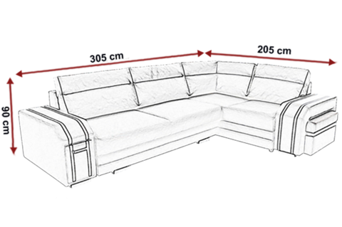 Avatar Functional And Modern Corner Sofa Bed With Footstool Drawer