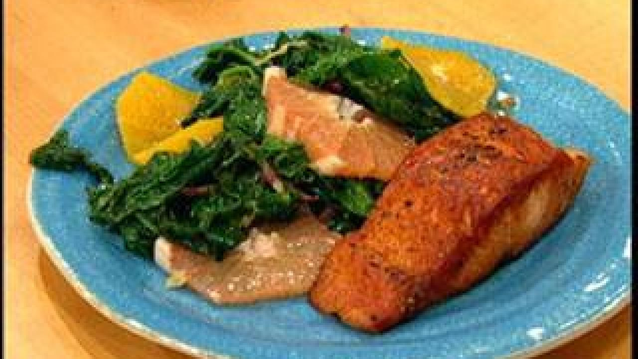 Seared Salmon With Wilted Citrus Spinach #searedsalmonrecipes Seared Salmon With Wilted Citrus Spinach #searedsalmonrecipes