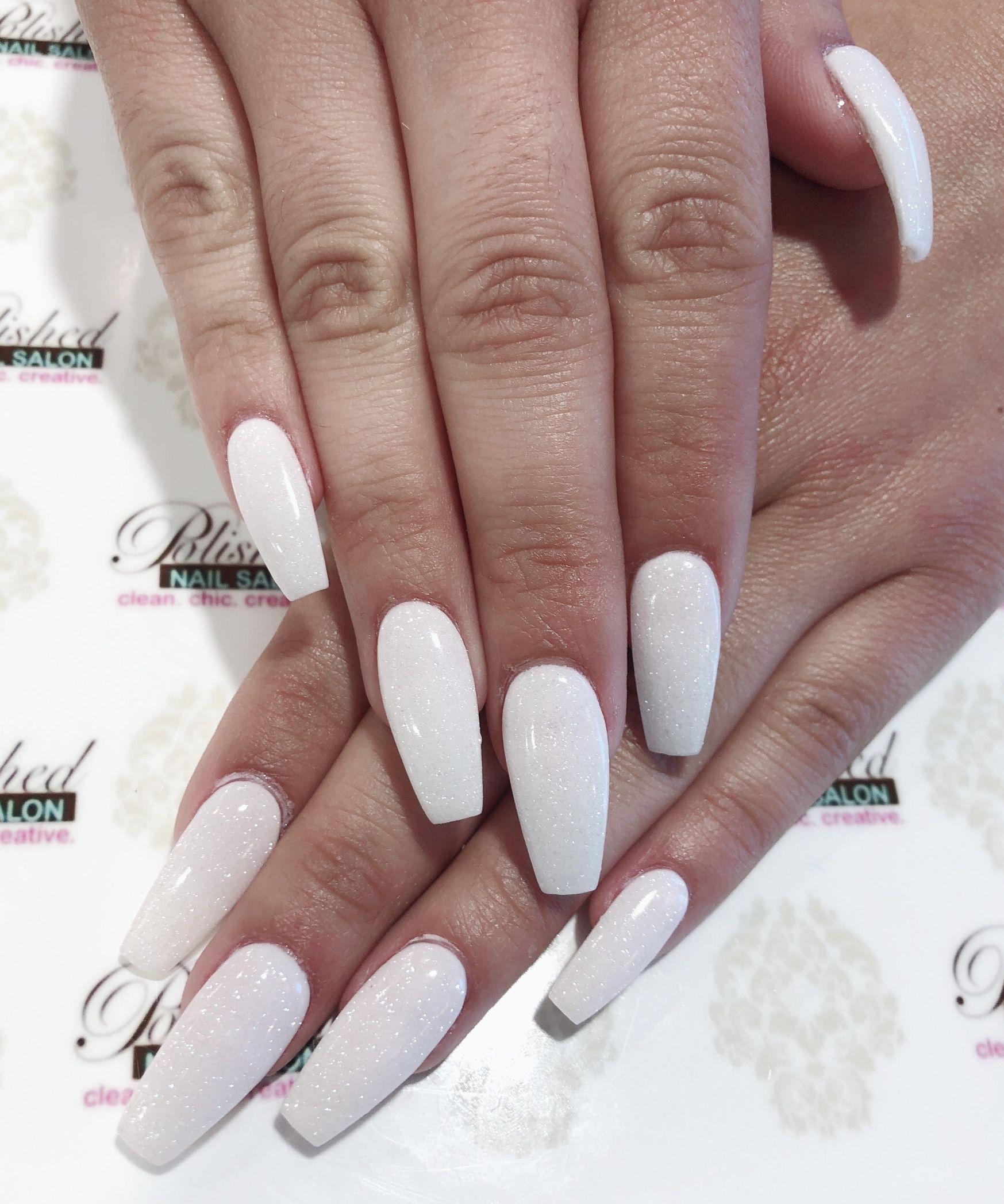 Shimmer White Dip Nails Dipped Nails Nail Shimmer White Coffin Nails