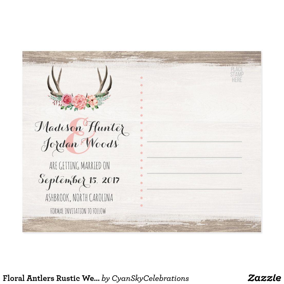 Floral Antlers Rustic Wedding   Save The Date Postcard   Wedding ...