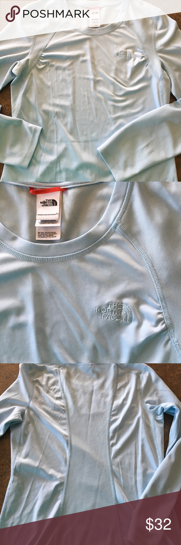 The North Face Women's Activewear Top Baby Blue Baby blue women's long sleeve activewear top/shirt by The North Face. Baby Blue and beautiful! The North Face Tops Tees - Long Sleeve