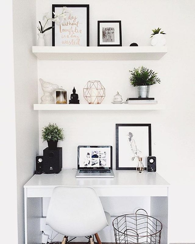 Modern Computer Desk Ideas, Interior Design, Diy, White, Small Space, Home