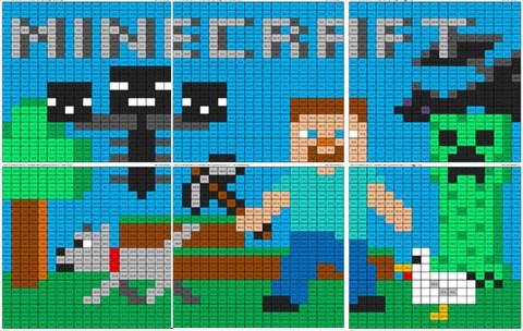 Minecraft Color By Number Mural Coloring Squared Patronen Strijkkralen Borduren