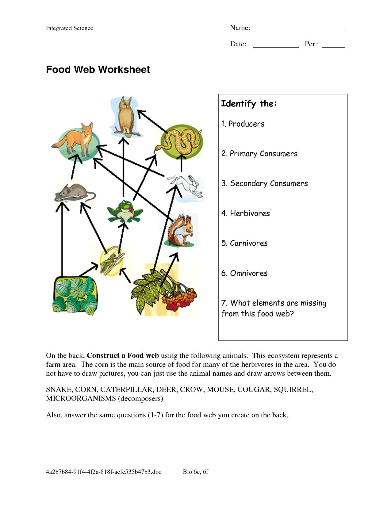 General Ecology Review Worksheet