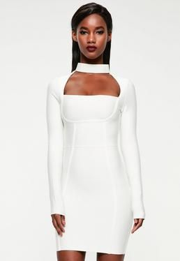 fee7df60 Peace + Love White Choker Neck Bandage Bodycon Dress | Engagement ...