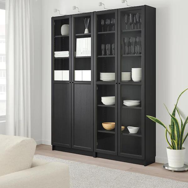 Billy Oxberg Bookcase With Panel Glass Doors Black Brown Glass 63x11 3 4x79 1 2 Ikea Glass Door Ikea Billy Bookcase With Glass Doors
