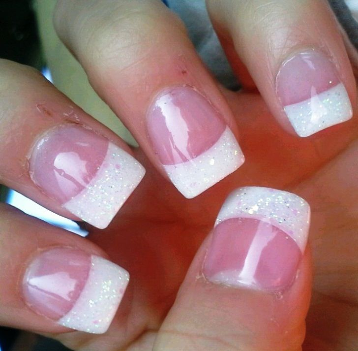 Cute White Tip Nails: French Manicure With Glitter Tips