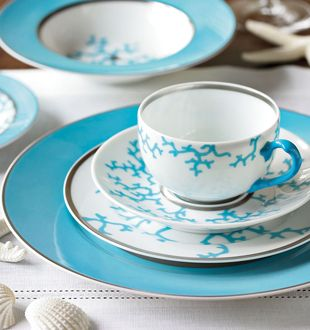"""Raynaud """"Cristobal Turquoise"""" porcelain with platinum dinnerware from Limoges."""