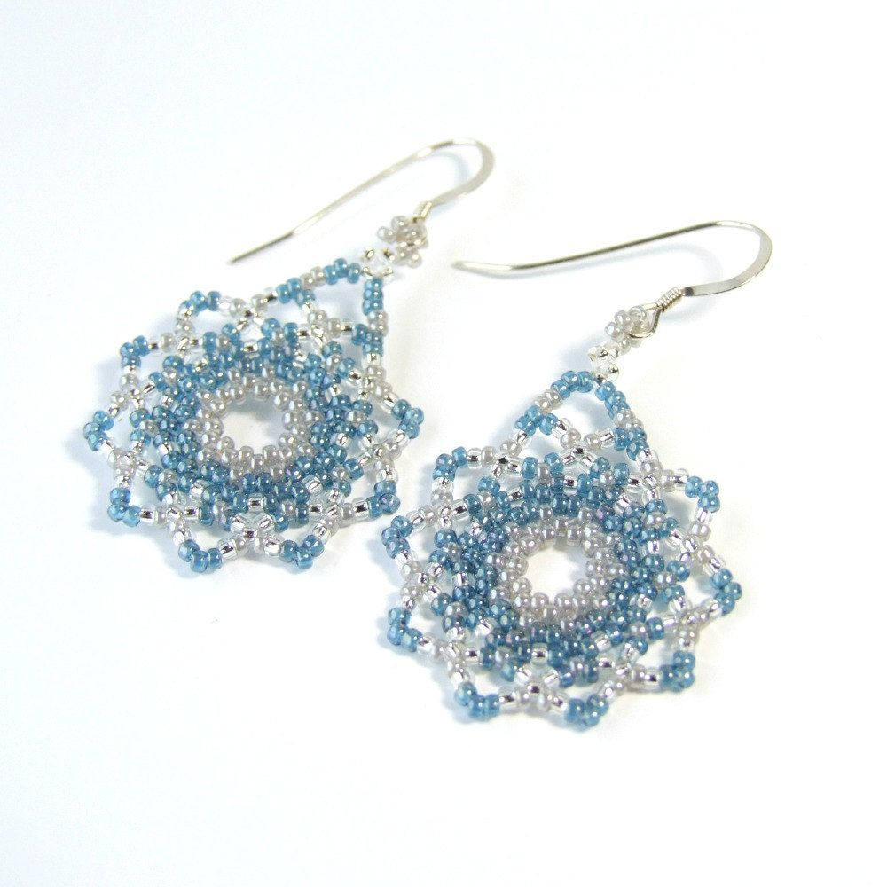 Light Blue Earrings Blue Seed Bead Earrings Winter Earrings Handmade Jewelry Unique Gifts For Women Pretty Earrings Light Earrings Sterling