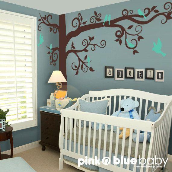 Charmant Baby Nursery Kids Wall Decor : Big Giant Swirly Tree With Birds   Nursery  Baby Kids Wall Decal