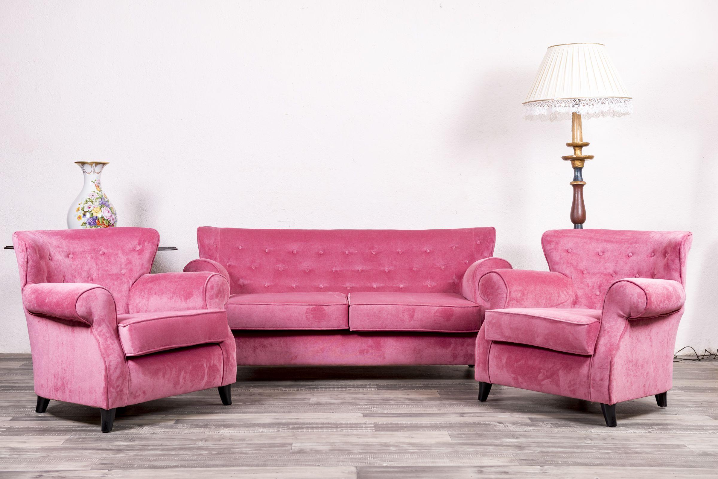 Conjunto de sof y sillones antiguos rose tapicer a nueva en tela de terciopelo en color - Sillones antiguos restaurados ...