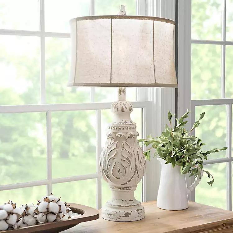 Caroline Distressed Cream Table Lamp Kirklands In 2021 Table Lamps For Bedroom Table Lamps Living Room Lamps Living Room