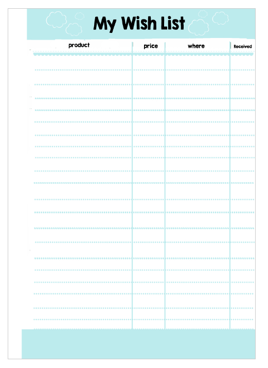 wish list templates