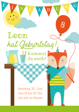 Fröhliche Einladungskarte zum Picknick oder Gartenfest für den ...