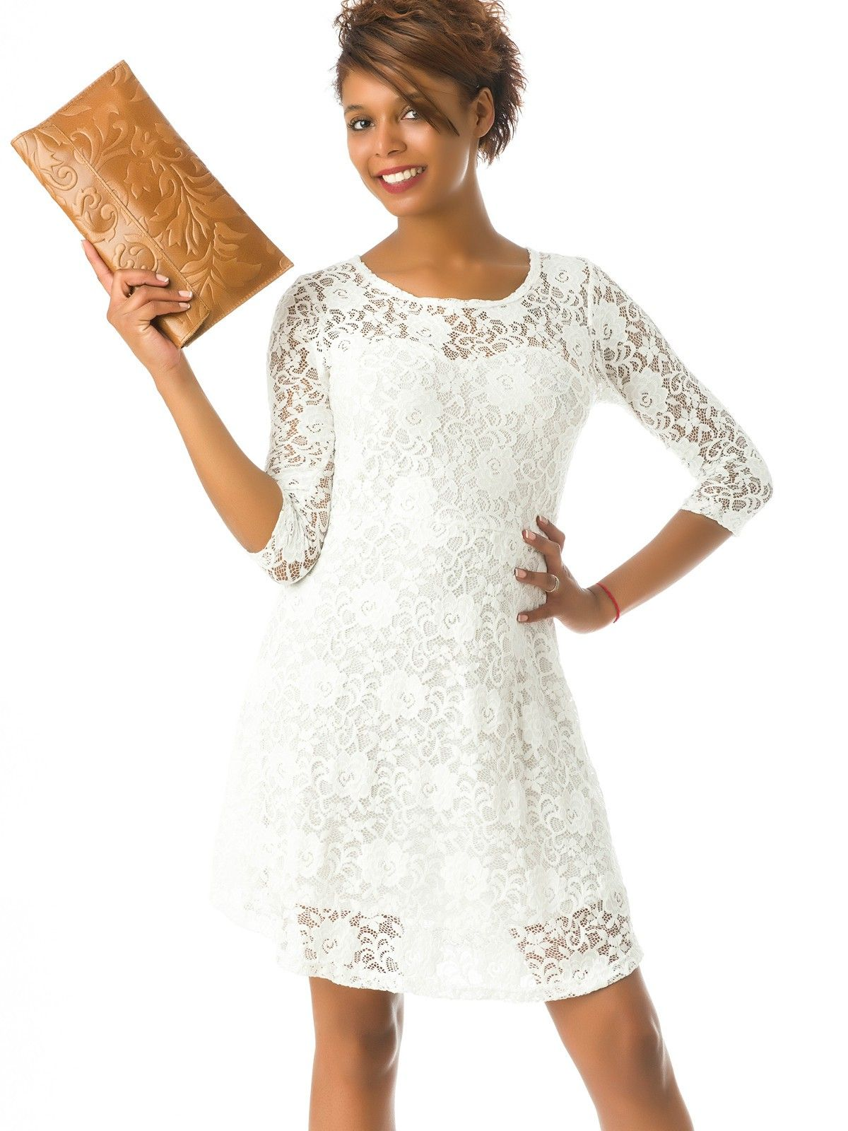 73d097ff5c Vestido Blanco con Encaje MS1716. Vestido Blanco con Encaje MS1716 Vestidos  ...