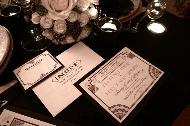 1920′s THEMED WEDDING PHOTO SHOOT -www.BoutiqueEvents.fr,  Lucky Luxe stationary