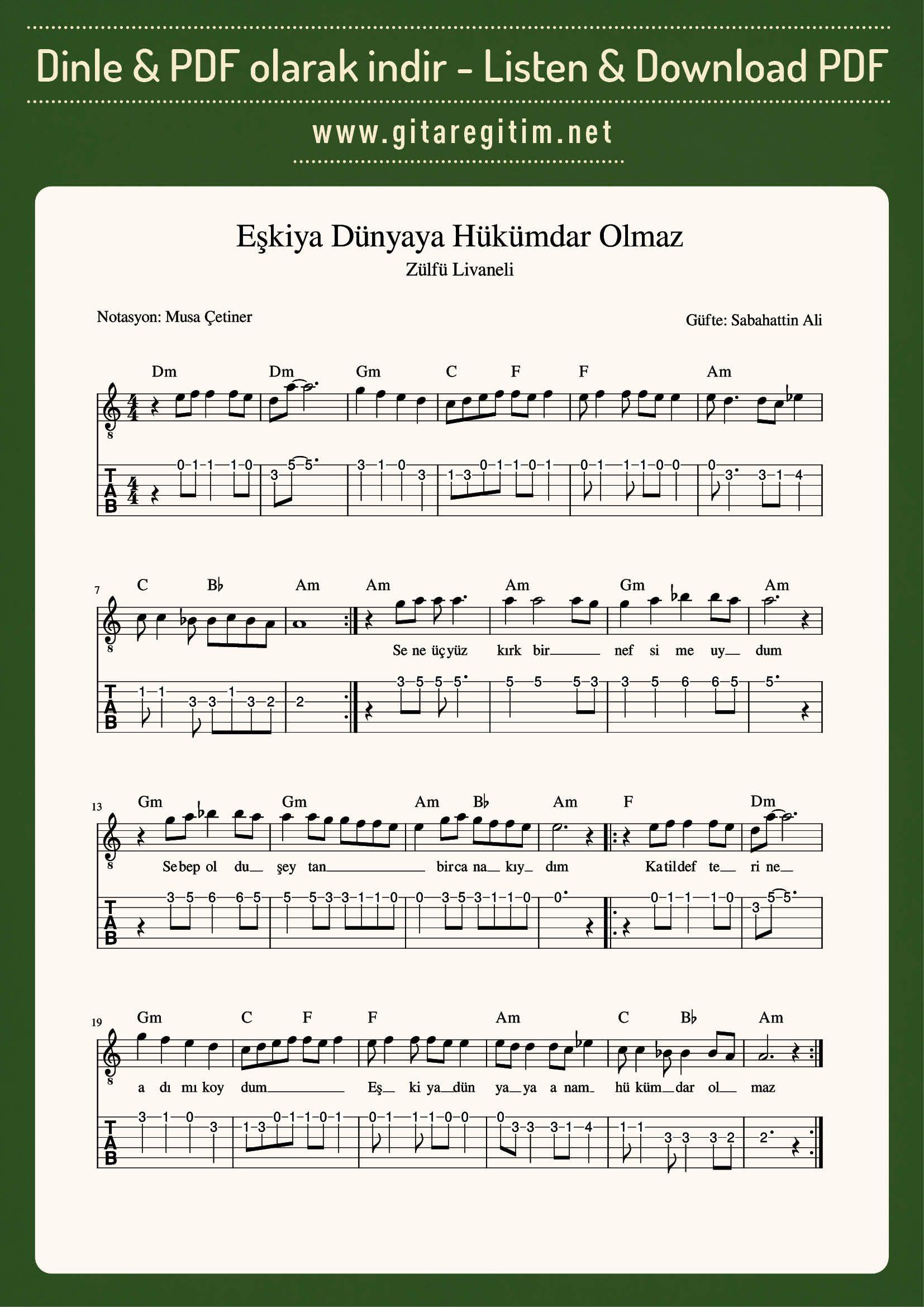 Eskiya Dunyaya Hukumdar Olmaz Nota Tab Gitaregitim Net Muzik Notalari Notalara Dokulmus Muzik Flut