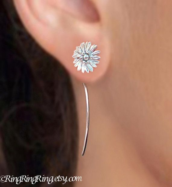 Sterling Silver Cute Small Shasta Daisy Flower Dangle Stud Earrings With Long Stems Unique