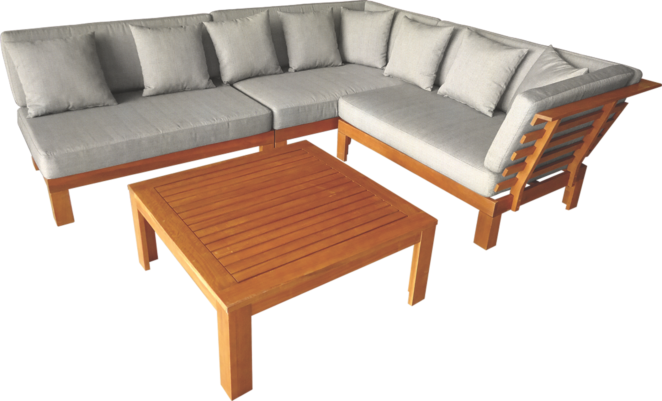 Mimosa 4 piece coogee timber corner lounge setting with cushions bunnings warehouse beer garden