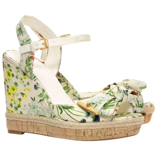 ce7d022aee4c8b Pre-owned Tory Burch New Box Floral Botanical Bow Sandals Heels... ( 199) ❤  liked on Polyvore featuring shoes