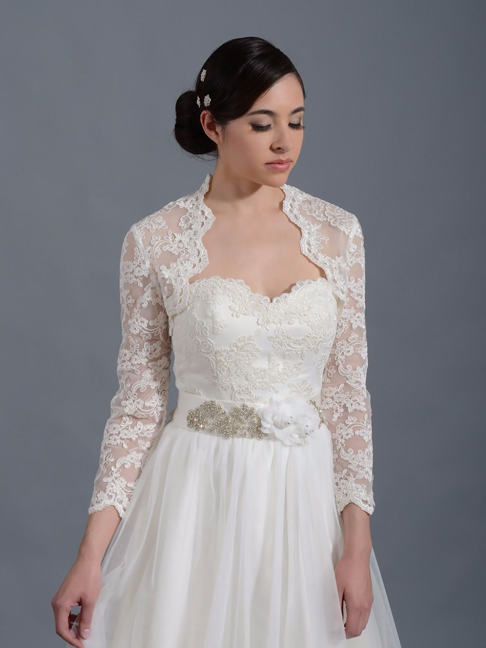 Lace keyhole back wedding dress   Long Sleevest Bridal Wraps Ivory Lace Keyhole Back Wedding