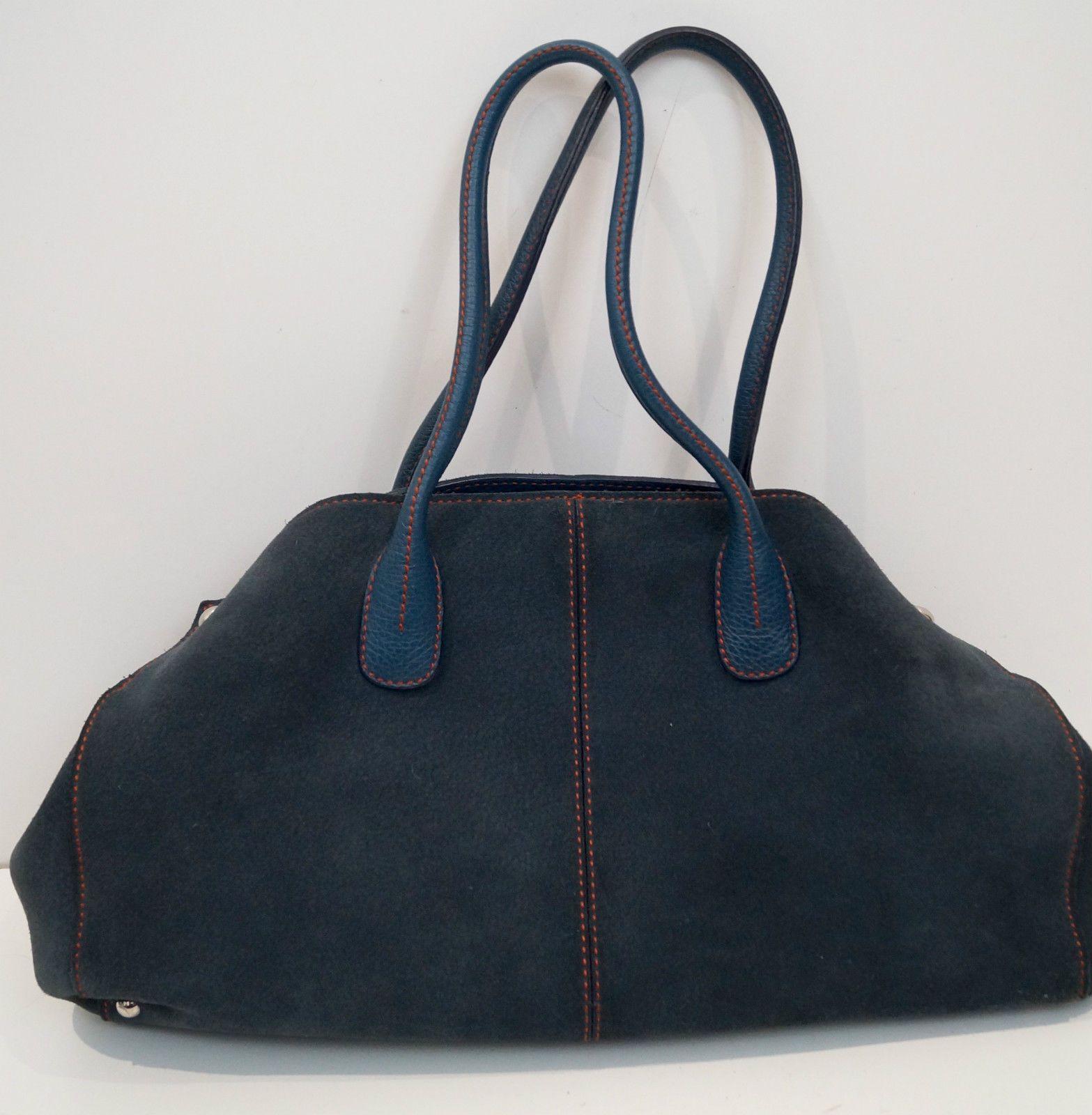 TODS Women's Midnight Navy Blue Suede Branded Medium Tote Bowling Shoulder  Bag | eBay