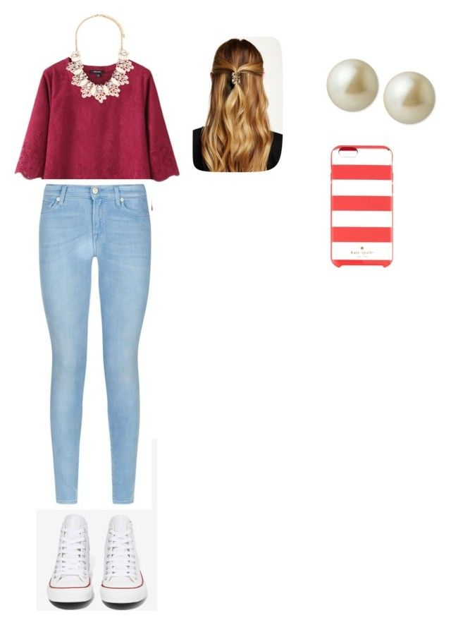 """Just A Little Preppy"" by ellaapp ❤ liked on Polyvore featuring Converse, 7 For All Mankind, Forever 21, Natasha Accessories, Carolee and Kate Spade"