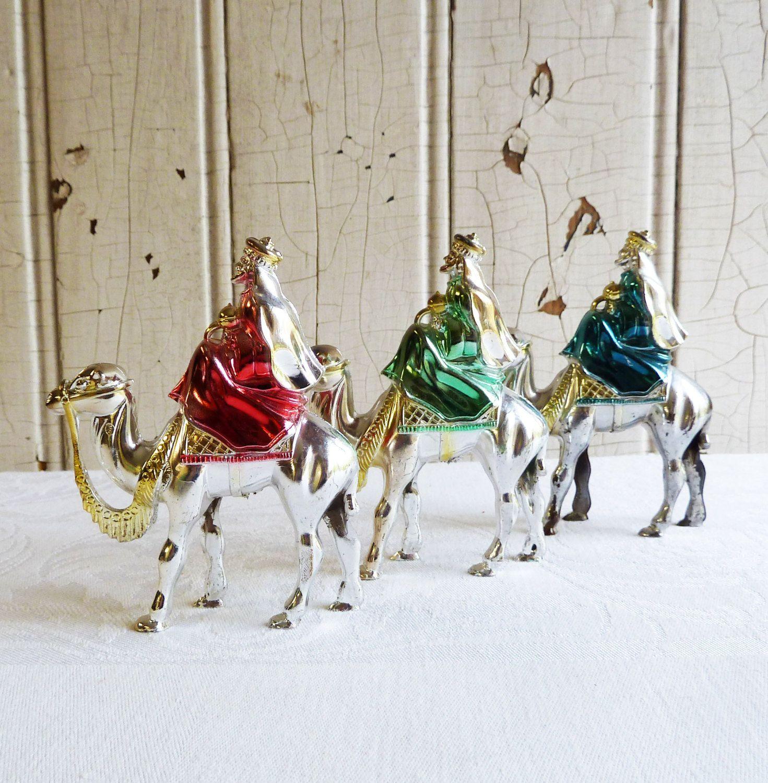 Bradford christmas ornaments - Three Bradford Silver Plastic Wise Men Christmas Ornaments Silver Magi Three Kings Mid