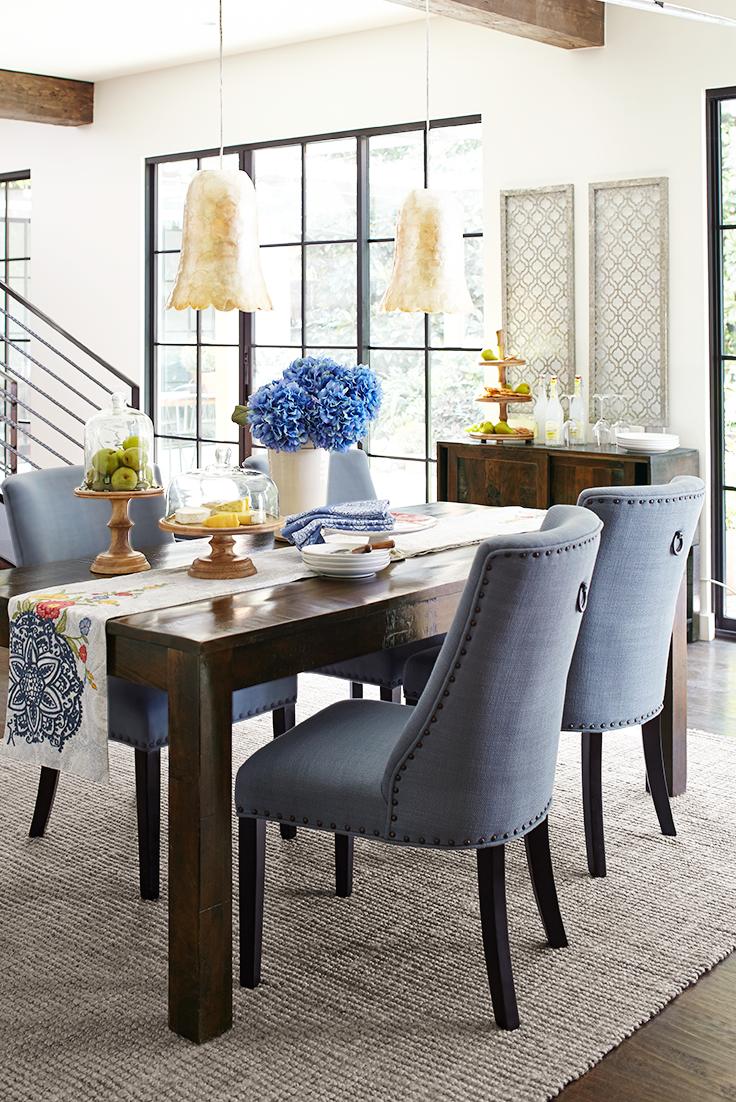Corinne Linen Cornflower Dining Chair with Black