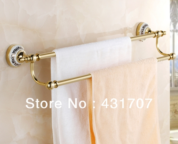 9900 watch here free shipping brass copper double towel bars towel rail kitchen towel railbathroom accessoriestowelscopperbrass - Bathroom Accessories Towel Rail