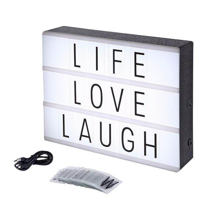 A4 Led Night Light Box Con Lettere Fai Da Te Nero Lampada Da Tavolo
