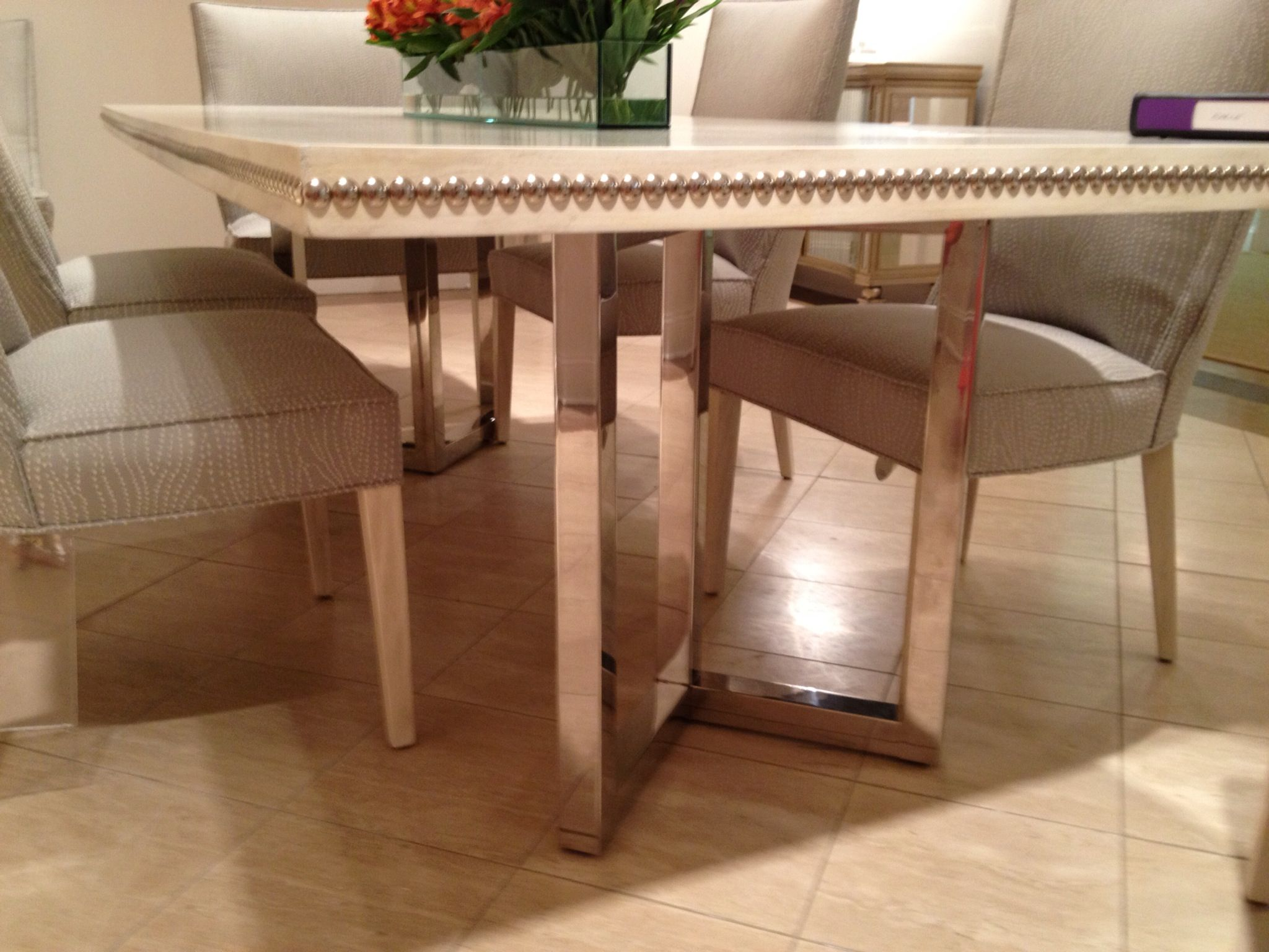 Ferguson Copeland Dining Table With Nail Head Edging Dining