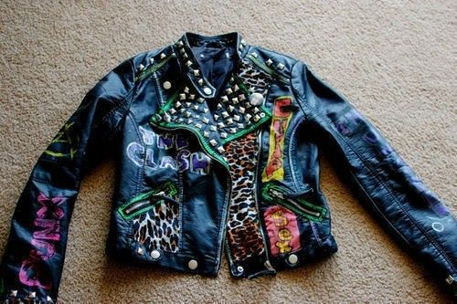 Free Tutorial With Pictures On How To Decorate A Leather Jacket In Under 40 Minutes By Embellishing Fabric Scissors And Paint Inspired Punk