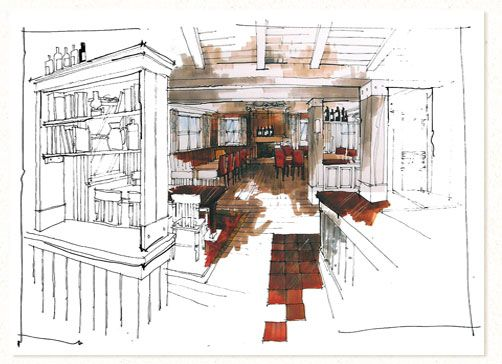 interior sketches and hand rendered marker visualsrichard