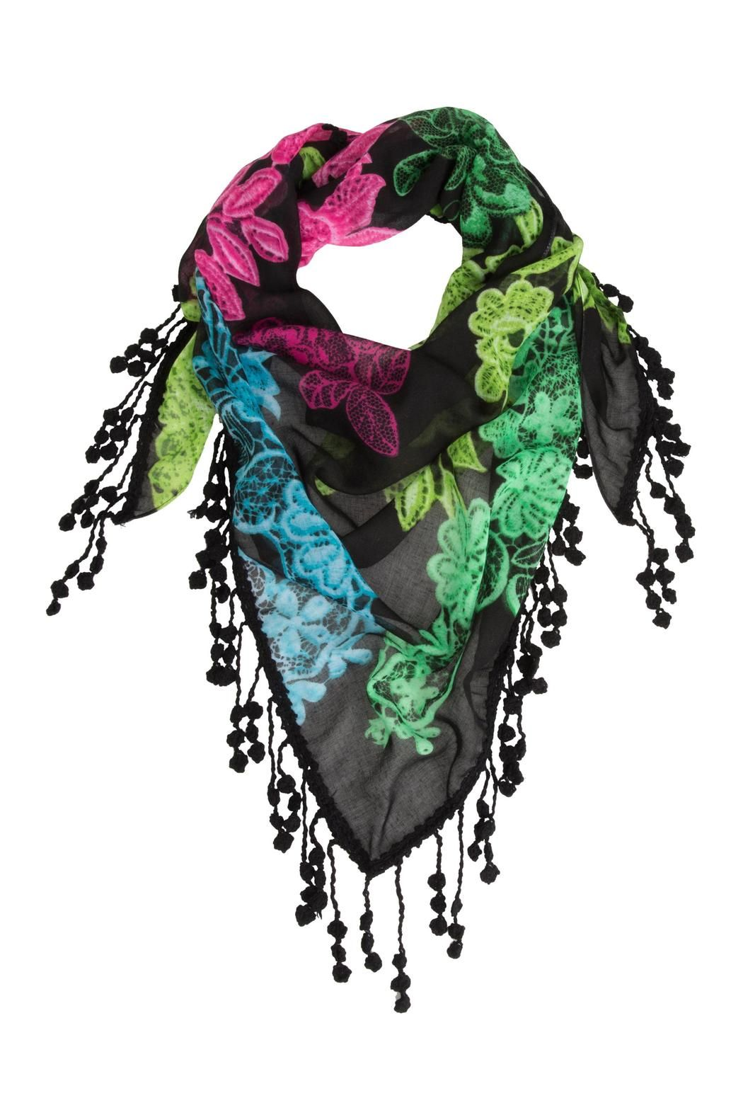 Wow Scarf Triangle Lincoln Avenu by Desigual line from Spain. Soft and lightweight scarf with fringing along the edge. Black with fuchsia green blue gorgeous pattern. Wear yours for day or night. It measures 80 x 165 cm.  Wow Triangle Scarf by DESIGUAL. Accessories - Scarves & Wraps Toronto Canada