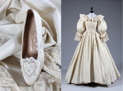 Princess Diana S Identical Replica Bridal Gown And Shoes Princess Diana Wedding Dress Princess Diana Wedding Wedding Dress Replica
