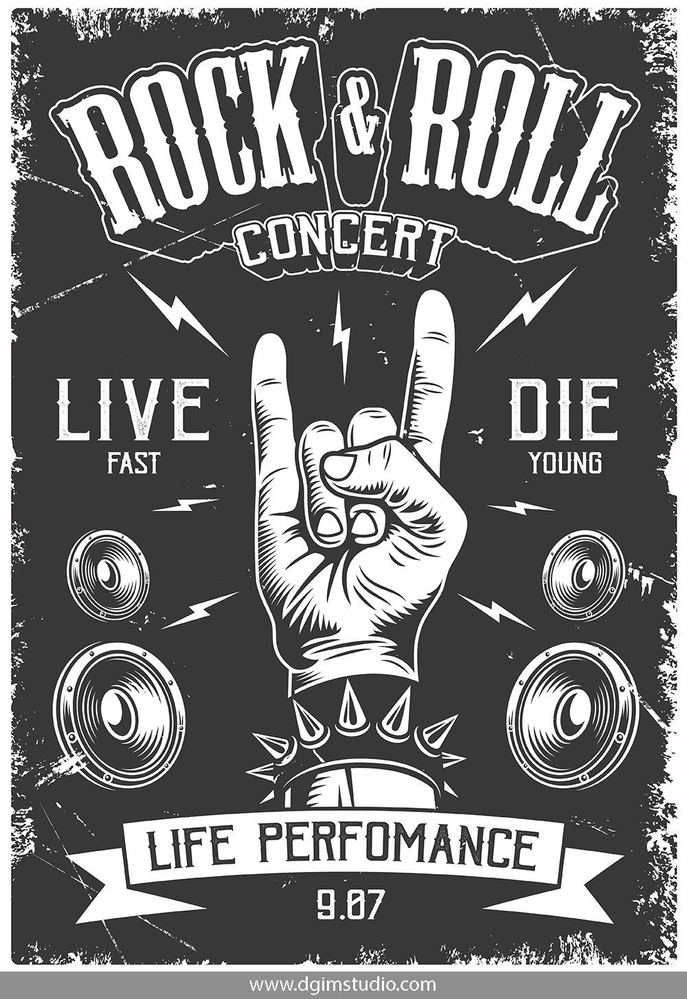 Rock Roll Designs Bundle Retro Poster Rock And Roll Rolled Poster