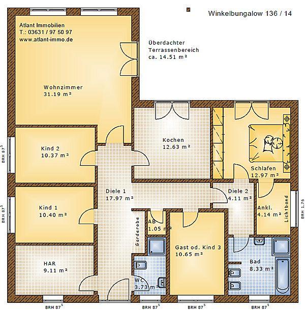 Winkelbungalow 136 14 Einfamilienhaus Neubau Massivbau